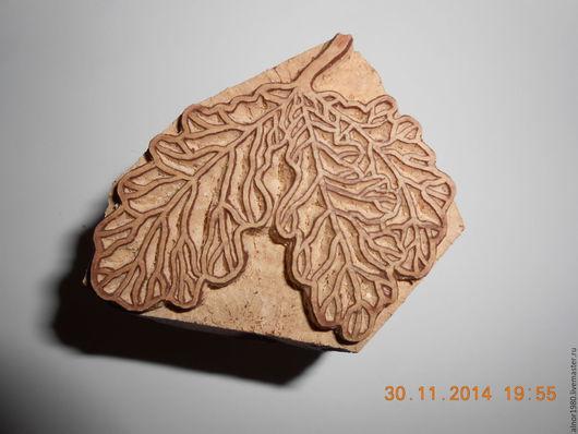 """Другие виды рукоделия ручной работы. Ярмарка Мастеров - ручная работа. Купить Штамп для печати на ткани """"Дубовые листья"""". Handmade."""