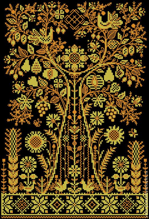 Оберег-Древо Жизни.  Авторская реконструкция старинной работы.  Схема для вышивания в технике `Счетный крест+ Бэкстич`.