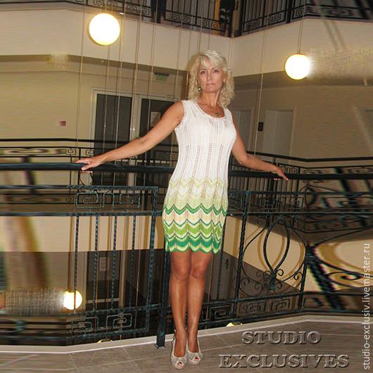Платья ручной работы. Ярмарка Мастеров - ручная работа. Купить Хлопчатобумажное бело-зеленое платье. Handmade. Зеленый, платье