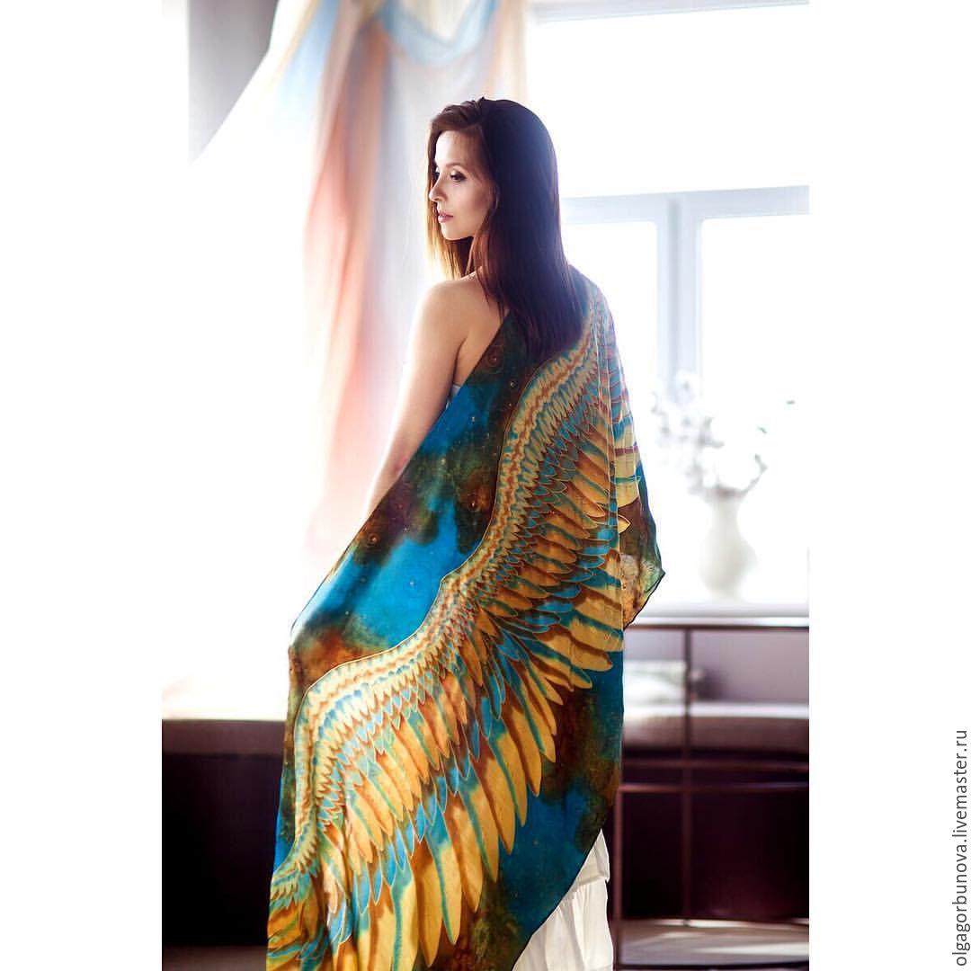 Batik stole ' Heavenly Bird', Wraps, Yaroslavl,  Фото №1