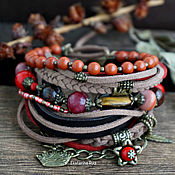 Украшения handmade. Livemaster - original item Burgundy boho bracelet, suede with red Jasper