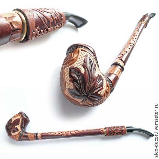 Подарки для мужчин, ручной работы. Ярмарка Мастеров - ручная работа. Купить Курительная трубка с кожей Gusar-11069-86. Handmade.