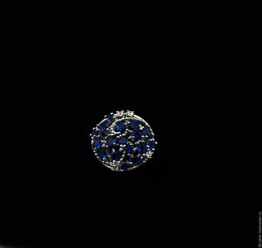 """Кольца ручной работы. Ярмарка Мастеров - ручная работа. Купить Кольцо """"Ледяные Кристаллы""""с Танзанитом и Цирконом. Handmade. Тёмно-синий"""