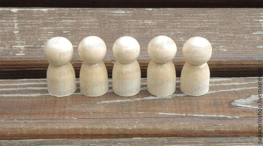 """Человечки ручной работы. Ярмарка Мастеров - ручная работа. Купить Деревянные куколки-фигурки """"девочка"""" 4 см, упаковка 5 шт.. Handmade."""