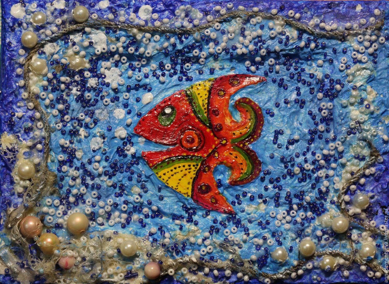 """Животные ручной работы. Ярмарка Мастеров - ручная работа. Купить картина-панно """"Рыбка"""" Картина для интерьера, детской, в подарок. Handmade."""