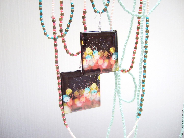 transparent earrings raindrops gift shop epoxy resin jewelry shop to buy jewelry gift earrings photo night city lights glass boho accessories epoxy resin