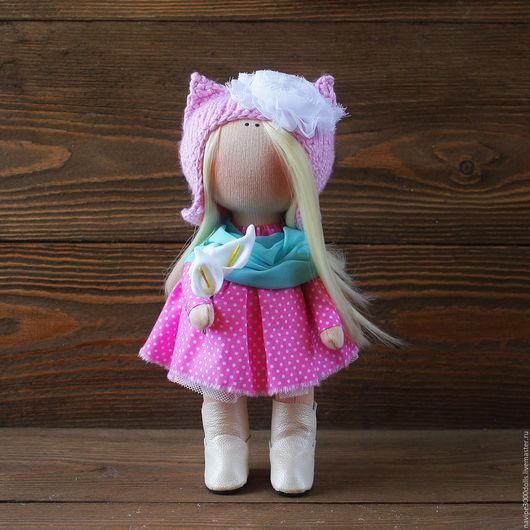 Куклы тыквоголовки ручной работы. Ярмарка Мастеров - ручная работа. Купить Интерьерная/ игровая кукла. Handmade. Розовый, кукла текстильная