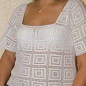 """Одежда ручной работы. Ярмарка Мастеров - ручная работа Белоснежный хлопковый пуловер"""" Греческий мотив""""лето. Handmade."""