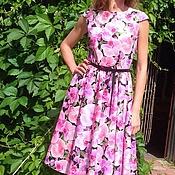 Одежда ручной работы. Ярмарка Мастеров - ручная работа Платье летнее из хлопка Орхидеи на черном. Handmade.
