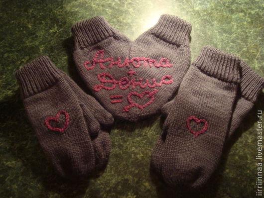 Варежки, митенки, перчатки ручной работы. Ярмарка Мастеров - ручная работа. Купить варежки для влюбленных. Handmade. Темно-серый, подарок