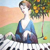 Открытки handmade. Livemaster - original item Piano and tangerine tree. Sicily. POSTCARD. Handmade.
