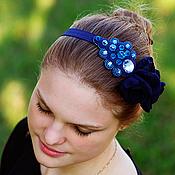"""Свадебный салон handmade. Livemaster - original item Повязка на голову из бисера синяя """" Сапфира"""". Handmade."""