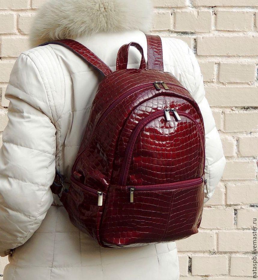 b236f5b2ab2f Burgundy women s leather backpack