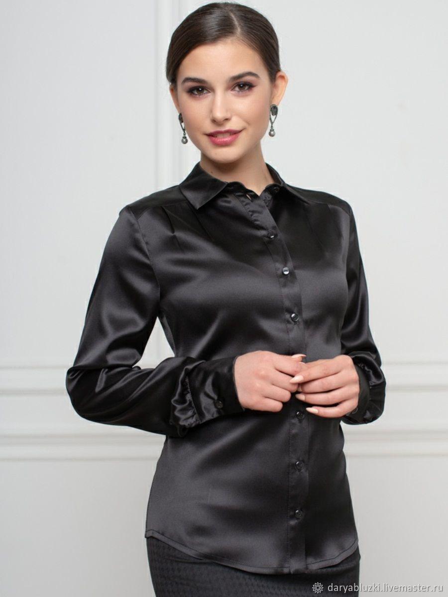 cbc0e349840 Черная шелковая блузка – купить в интернет-магазине на Ярмарке ...