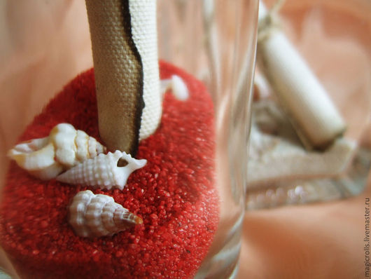 В бутылочку помещается состаренный свиток, песок и морские ракушки. Песок может быть нескольких цветов - на Ваш выбор. С наполнителем также можно поэкспериментировать )