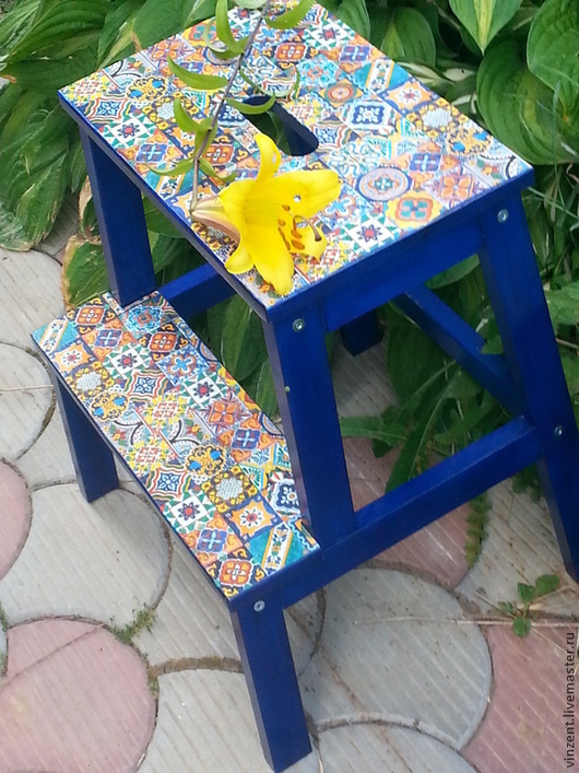 Мебель ручной работы. Ярмарка Мастеров - ручная работа. Купить Табурет-скамейка Итальянская плитка. Handmade. Табуретка-ступенька, табурет