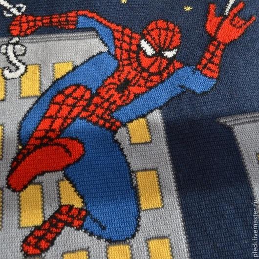 """Текстиль, ковры ручной работы. Ярмарка Мастеров - ручная работа. Купить Детский плед """"Человек-паук"""". Handmade. Тёмно-синий"""