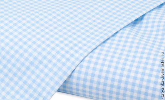 Ткань немецкий хлопок `Клетка` 3х3мм (голубая)