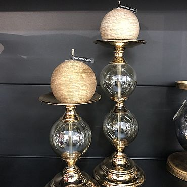 Для дома и интерьера. Ярмарка Мастеров - ручная работа Свечи: Текстурированный шар в позолоте. Handmade.