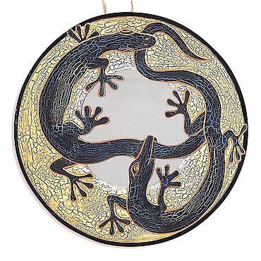 """Для дома и интерьера ручной работы. Ярмарка Мастеров - ручная работа Зеркало """"Две ящерицы"""" 40 см. Handmade."""