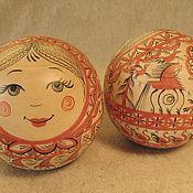 Куклы и игрушки ручной работы. Ярмарка Мастеров - ручная работа колобок - шар музыкальный с мезенской росписью. Handmade.