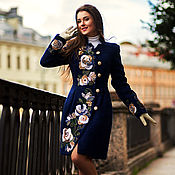 Одежда ручной работы. Ярмарка Мастеров - ручная работа Пальто приталенное Синяя птица (Русский фасон). Handmade.
