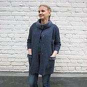 """Одежда ручной работы. Ярмарка Мастеров - ручная работа Пальто с отделкой натуральным мехом норки """"Синий иней"""". Handmade."""