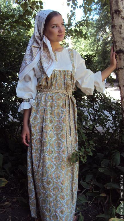 Одежда ручной работы. Ярмарка Мастеров - ручная работа. Купить Платье-сарафан. Handmade. Зеленый, русская рубаха, русский стиль