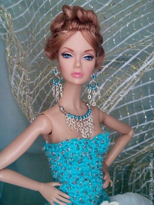 Комплект украшений для кукол `СТРУИ ДОЖДЯ` Вариант - колье Автор Ангелина КАЗАНОВА