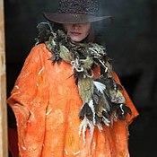 Одежда ручной работы. Ярмарка Мастеров - ручная работа Пончо валяное Мандаринка. Handmade.