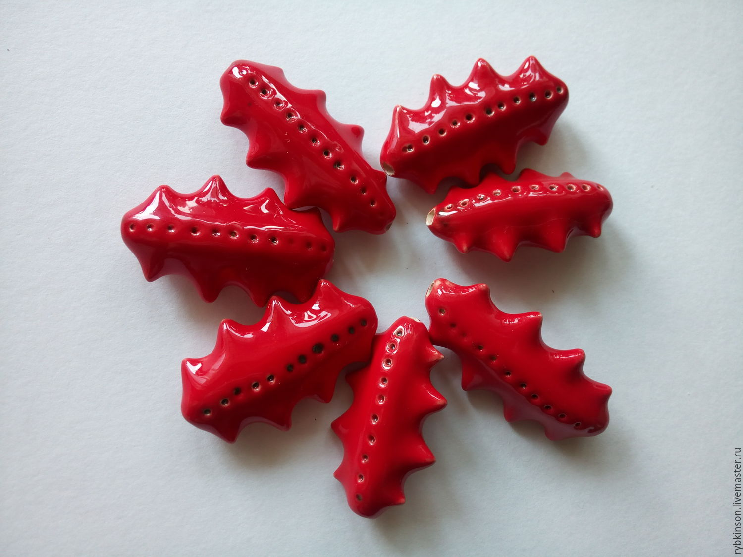 Red ceramic beads with spikes, Beads1, Pokrov,  Фото №1