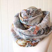 """Аксессуары ручной работы. Ярмарка Мастеров - ручная работа Снуд валяный шарф """"Тёплые нежные розы"""" войлочный снуд шерстяной шарф. Handmade."""