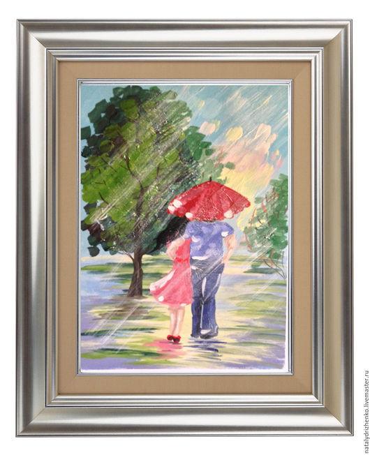 """Пейзаж ручной работы. Ярмарка Мастеров - ручная работа. Купить Картина """"Пара под дождём"""". Handmade. Картина, картина на заказ"""