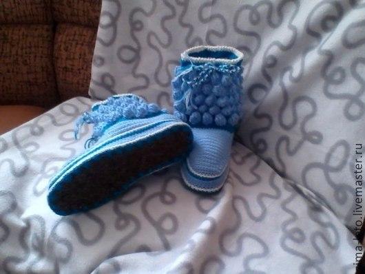 Обувь ручной работы. Ярмарка Мастеров - ручная работа. Купить Домашние тапочки-сапожки. Handmade. Голубой, Вязание крючком