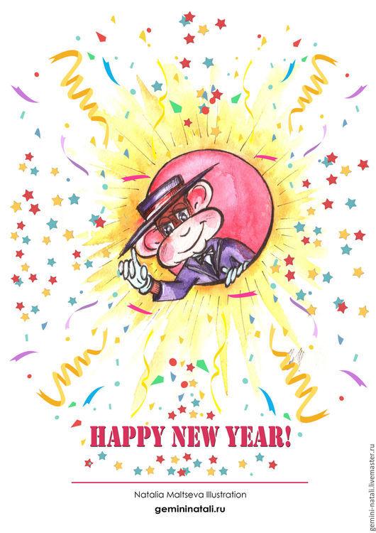 открытка, новый год, новый год 2016, авторская работа, ручная работа, Наталья Мальцева, животные, обезьяна ,символ года, подарок, зима