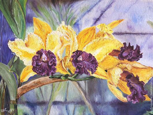 Картины цветов ручной работы. Ярмарка Мастеров - ручная работа. Купить Нежность и страсть. Handmade. Орхидея, желто-фиолетовый, мастихин