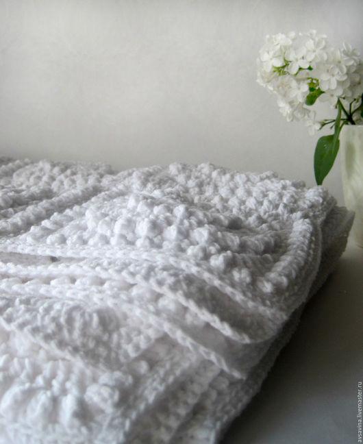Текстиль, ковры ручной работы. Ярмарка Мастеров - ручная работа. Купить Ажурный белый плед крючком. Handmade. Белый