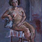 Картины ручной работы. Ярмарка Мастеров - ручная работа Картина этюд с натуры Сидящая обнаженная девушка. Handmade.
