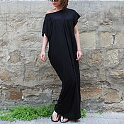 Одежда ручной работы. Ярмарка Мастеров - ручная работа Черное пляжное летнее макси платье, кафтан, абайя. Handmade.