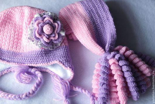 Шапки и шарфы ручной работы. Ярмарка Мастеров - ручная работа. Купить Шапочка и шарф для девочки 2г.. Handmade. Сиреневый, краснодар