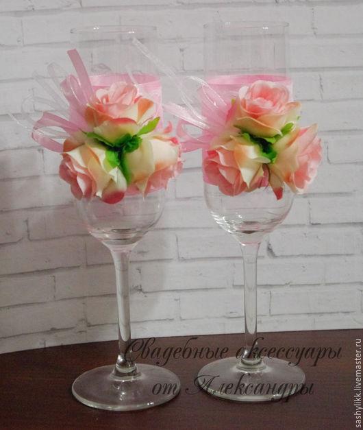 """Свадебные аксессуары ручной работы. Ярмарка Мастеров - ручная работа. Купить Свадебные бокалы """"Лиловые розы"""",2 шт. Handmade."""