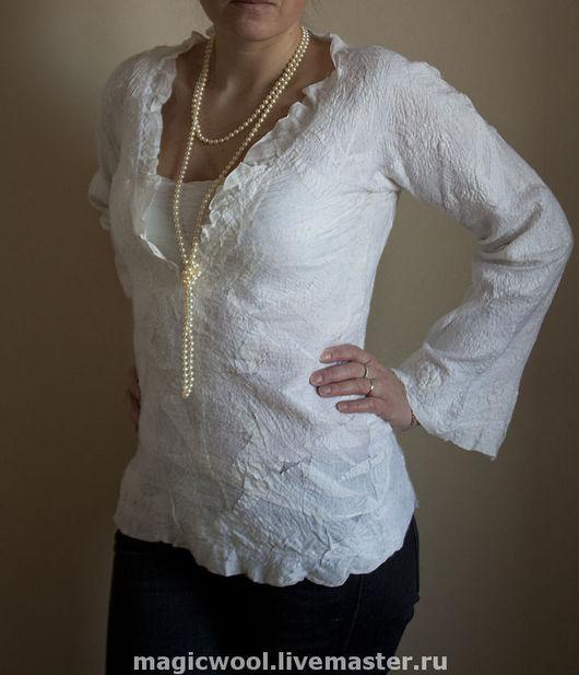 """Блузки ручной работы. Ярмарка Мастеров - ручная работа. Купить Блуза """"Горный снег"""". Handmade. Блуза, валяная одежда"""