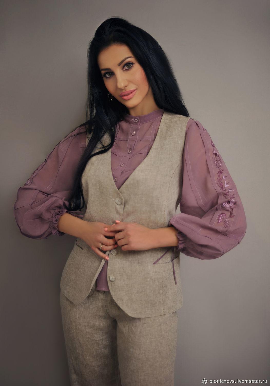Linen suit 'Melange' vest and trousers, Suits, Vinnitsa,  Фото №1