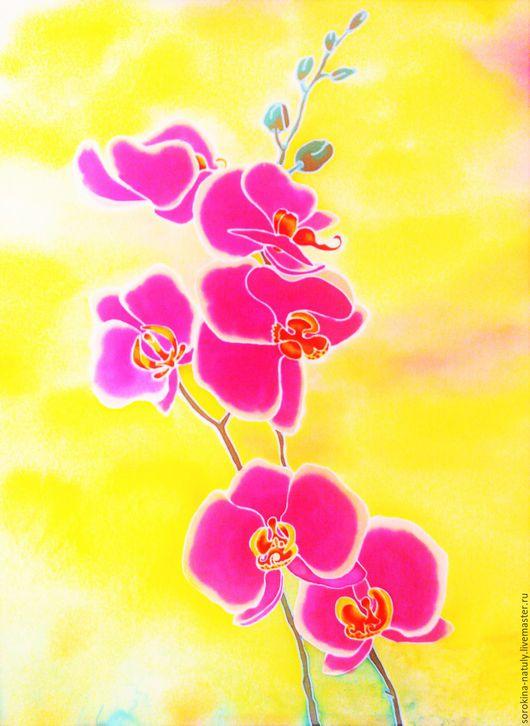 Картина батик `Изысканность орхидеи 1`написана на высоком эмоциональном подъёме. Будет радовать Вас и украшать интерьер.
