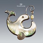 Украшения handmade. Livemaster - original item Brooch silver FISH-WHALE (silver, mother of pearl, pearls). Handmade.
