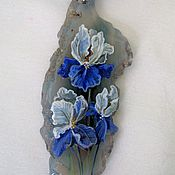 "Украшения handmade. Livemaster - original item Painting on a cut of agate ""Irises"". Handmade."