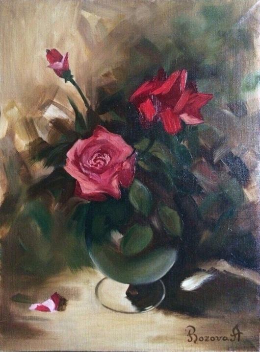 """Картины цветов ручной работы. Ярмарка Мастеров - ручная работа. Купить Натюрморт """"Аромат роз"""". Handmade. Картина маслом"""