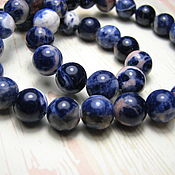 handmade. Livemaster - original item Sodalite, beads, ball, 8 mm. blue-white-orange scale. Handmade.