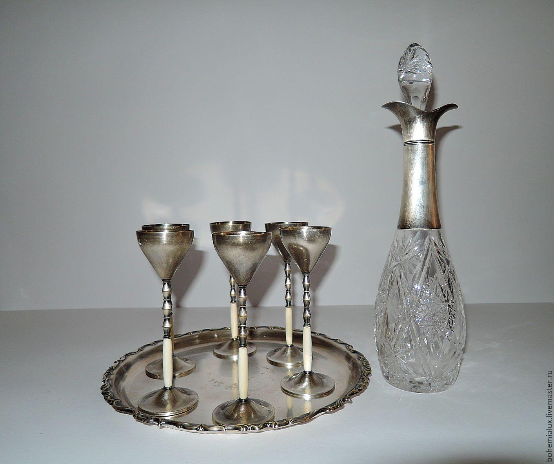 Set decanter glasses tray crystal Silver WMF 1910, Vintage sets, Prague,  Фото №1