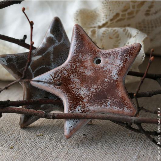 Новый год 2017 ручной работы. Ярмарка Мастеров - ручная работа. Купить Елочные украшения из керамики Звезды заснеженные. Handmade. Коричневый